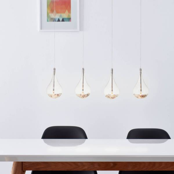 Lightbox LED Pendelleuchte 4 flammig, mit Glasperlen gefüllt, höhenverstellbar, G4 Fassung mit 5 Watt Leuchtmitteln, Glas/Metall - Chrom, transparent
