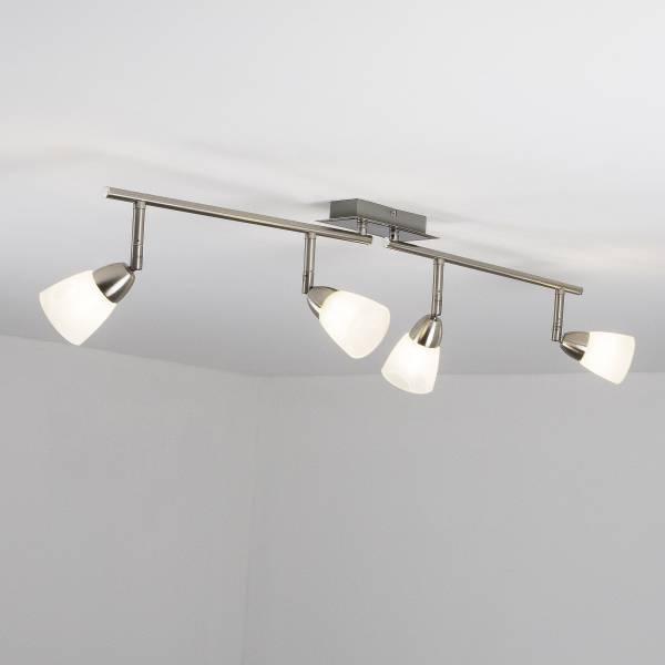LED Spotrohr, 4-flammig, drehbar, 4x 3.5W LED integriert, 4x 320 Lumen, 3000K, Metall / Glas, eisen / weiᄃ-alabaster
