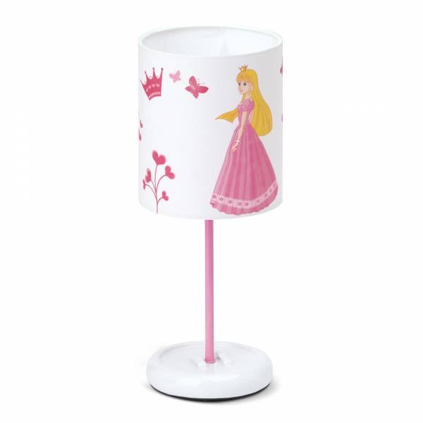 LED Tischleuchte Princess, Schirm mit Prinzessin, H: 32 cm, Ø 12 cm, 0,72W LED integriert, Metall / Kunststoff, weiß / rosa