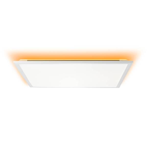 LED Panel Deckenleuchte, dimmbar, 60x60cm, 36 Watt, mit RGB Hintergrundbeleuchtung, 2700-6500 Kelvin, Metall/Kunststoff, Weiß