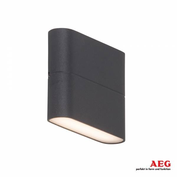 LED Außenwandstrahler Up-Downlight, 2x 3W LED integriert, 2x 250 Lumen, 3000K warmweiß, Metall / Kunststoff, anthrazit / weiß