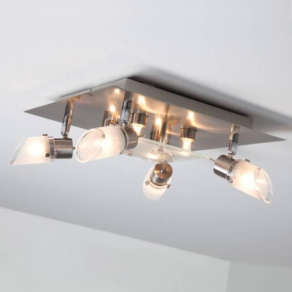 Dekorativer Deckenspot 4-flammig schwenkbar mit 4x fix Dekolicht Halogen-Leuchtmittel inklusive, Metall / Glas, eisen / weiß-transparent