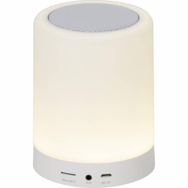 LED Tischleuchte mit Lautsprecher, 1x 7W LED integriert, 1x 100 Lumen, 3000-4000K, , Kunststoff, weiß