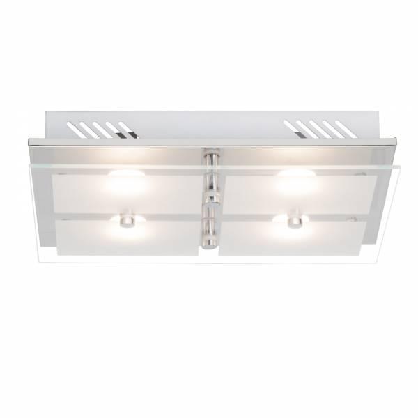 Elegante LED Wand- und Deckenleuchte, 4-flammig, 4x400 Lumen, 4x 5W, 34cm x 26cm, 3000K warmweiß, Metall / Glas, chrom