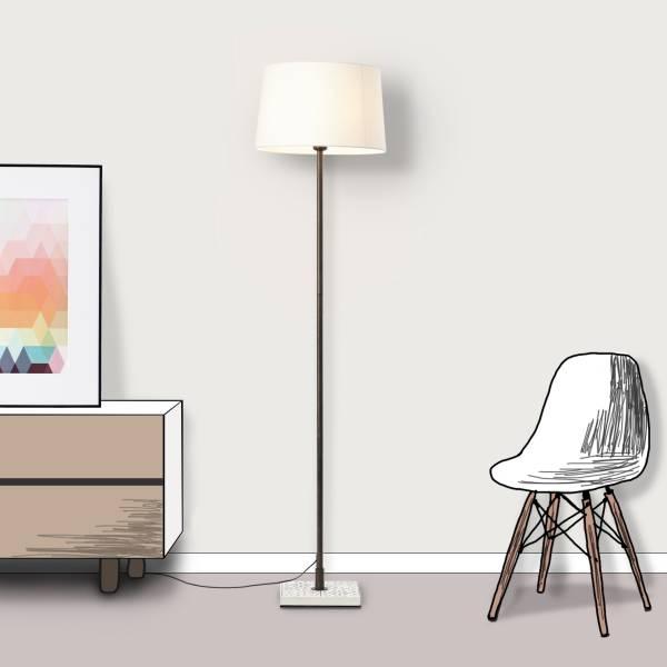 Lightbox Stehlampe, klassische Stehleuchte mit Textilschirm, 1x E27 Fassung für max. 40 Watt - Metall/Textil, creme-weiß
