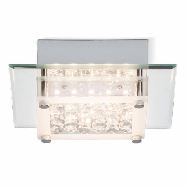 LED 10W Deckenleuchte mit dekorativer Glasabdeckung, 1000 Lumen, 3000K, 18cm x 18cm, Metall / Glas, chrom / transparent