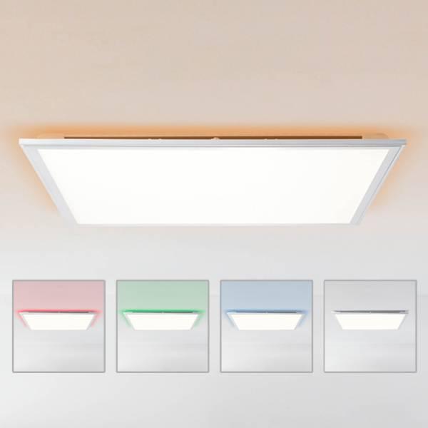 LED Panel Deckenleuchte dimmbar per Fernbedienung, 60x60cm, 42 Watt aus Metall / Kunststoff in silber / weiß
