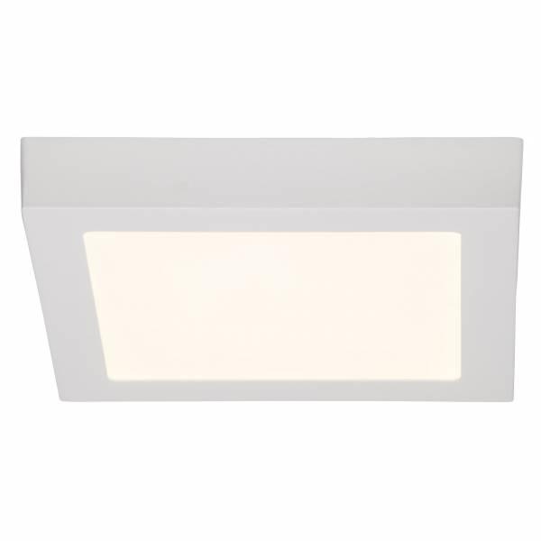 Moderne 18W LED Deckenleuchte im schlichten Design quadratisch, 1.620 Lumen, 3000K, 23 x 23 cm, Metall / Kunststoff, weiß