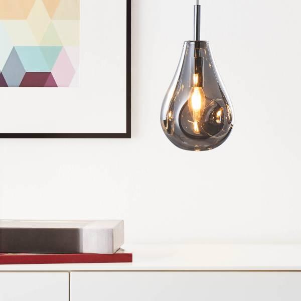 Lightbox Pendelleuchte, Moderne Hängelampe 1-flammig, 1x GU10 max. 5 Watt aus Glas / Metall in rauchglas / chrom