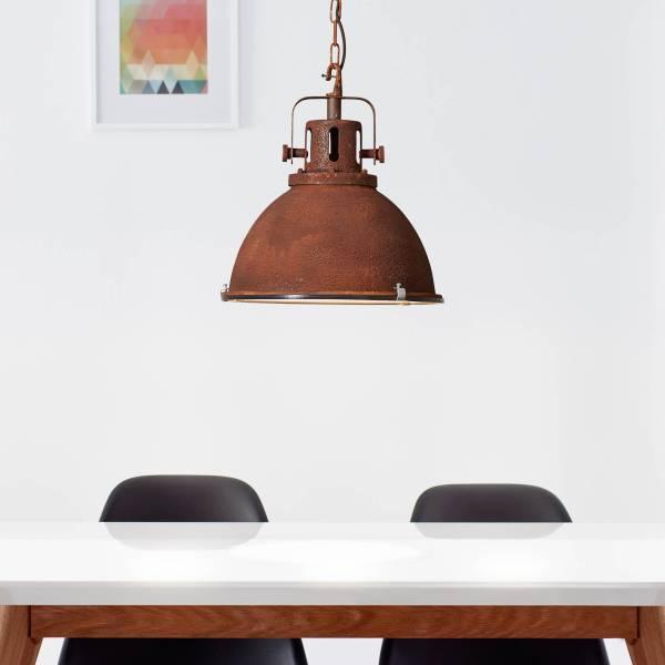 Lightbox Vintage Pendelleuchte, Industrial Lampe, mattierter Glasscheibe, E27 Fassung für max. 60 Watt, Ø38cm, Metall / Glas, rostfarbend