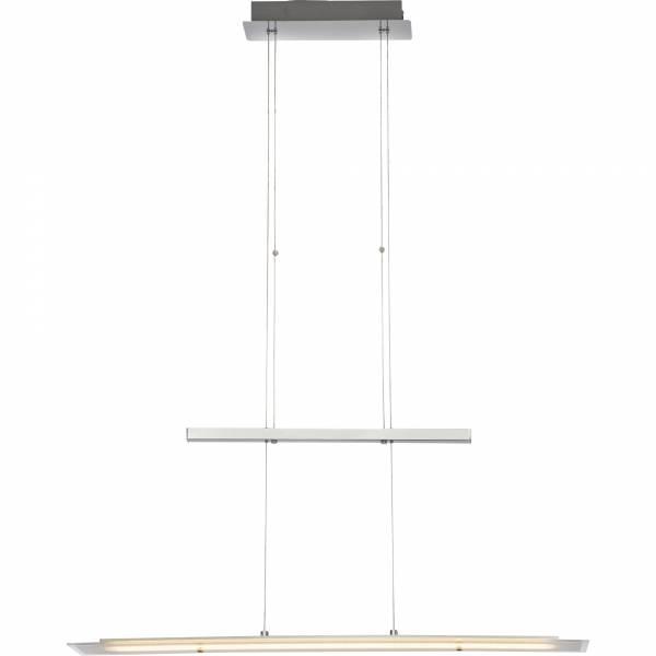 Moderne LED Pendelleuchte, höhenverstellbar, H 150 cm, 1x 21,6W LED integriert, 1710 Lumen, 3000K warmweiß, Metall / Glas, alu / chrom / weiß
