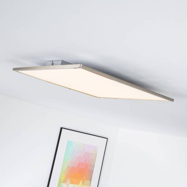 LED Panel für Deckenaufbau, dimmbar, 1x 30W LED integriert, 3000 Lumen, 3000K warmweiß, Metall / Kunststoff, eisen / weiß