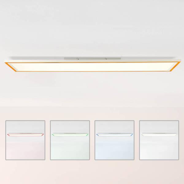 LED Panel Deckenleuchte, 120x30cm, 37 Watt, RGB Farbwechsel per Fernbedienung steuerbar, 2700-6500 Kelvin, Metall/Kunststoff, Weiß