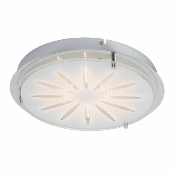 Dekorative LED Wand- und Deckenleuchte, 1x 15W LED, 1x 900 Lumen, 3000K warmweiß, , Metall / Glas, chrom