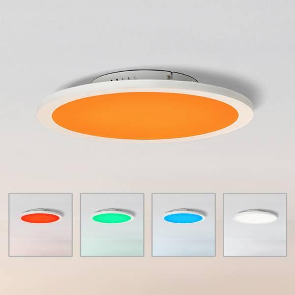 LED Panel Deckenleuchte, Ø40cm, dimmbar, RGB Farbwechsel - per Fernbedienung steuerbar, 24 Watt, 2700-6200 Kelvin, Metall/Kunststoff, Weiß