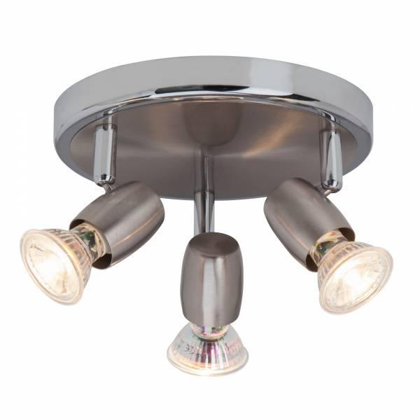 Klassische LED Deckenleuchte / Spotrondell, 3x GU10 2,5W LED inkl., 3x 220 Lumen, 3000K warmweiß, Metall, eisen / chrom