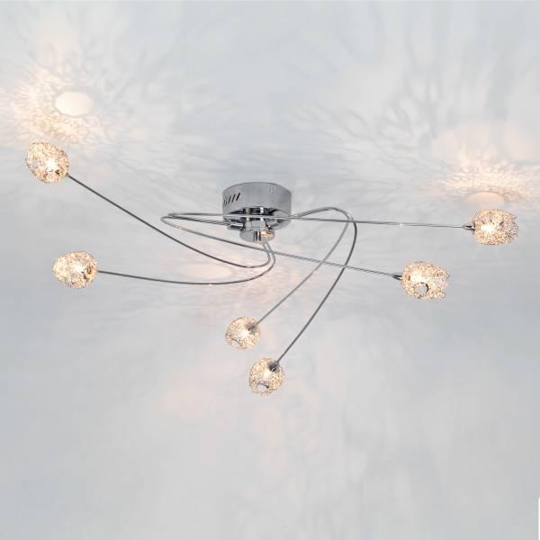 Belice Deckenleuchte 6-flammig mit Drahtgeflecht, Ø 90 cm, 6x 20W 12V Halogen G4, Metall, Chrom