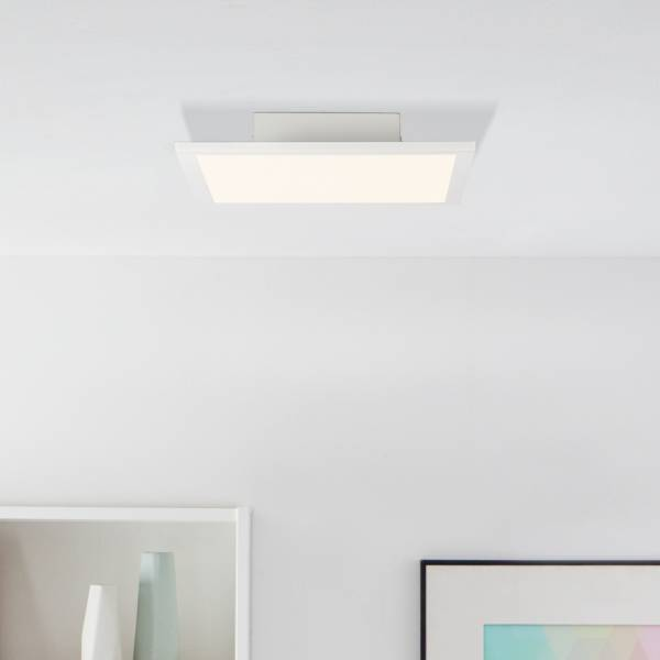 LED Panel Deckenleuchte Deckenlampe, Warmweißes Licht, 30x30cm, 18 Watt, 1800 Lumen, 2700 Kelvin; Metall/Kunststoff, Weiß