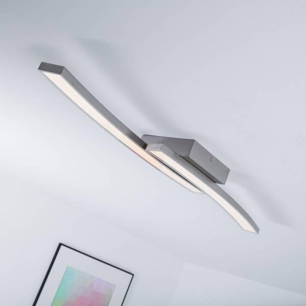 Moderne LED Deckenleuchte, 30W LED integriert, 1500 Lumen, 3000K warmweiß, Metall / Kunststoff, eisen