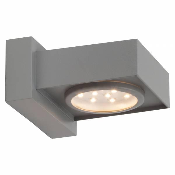 LED Außenwandleuchte, 1x 2.4W LED integriert, 1x 192 Lumen, 6500K, , Metall / Kunststoff, silber