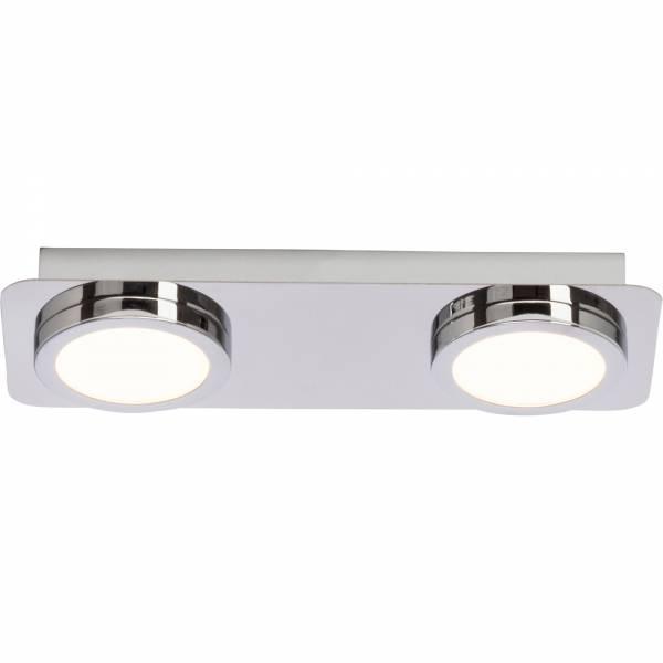 Badezimmer LED Deckenleuchte, IP44 Spritzwassergeschützt, 2x 5W LED  integriert, 2x 380 Lumen, 3000K warmweiß, Metall / Kunststoff, chrom / weiß