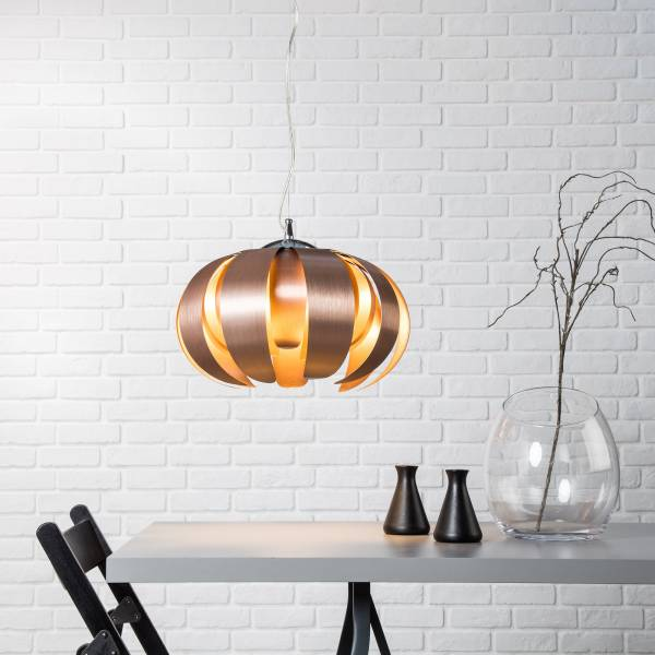 Dekorative Pendelleuchte im exklusiven Design, H 120 cm, 1x E27 max. 60W, Metall / Kunststoff, alu / kupfer