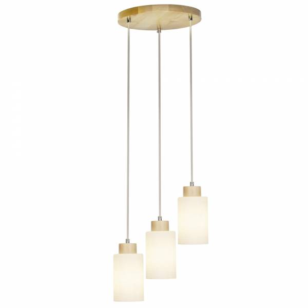 Pendelleuchte, 3-flammig, 3x E27 max. 60W, , Holz / Glas, birke / weiß
