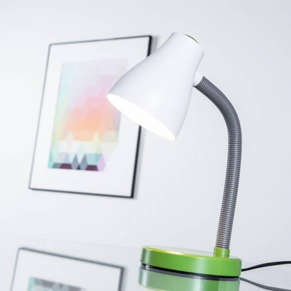 Klassische Schreibtischleuchte mit Flexarm und Schnurzwischenschalter, Metall / Kunststoff, weiß / grün