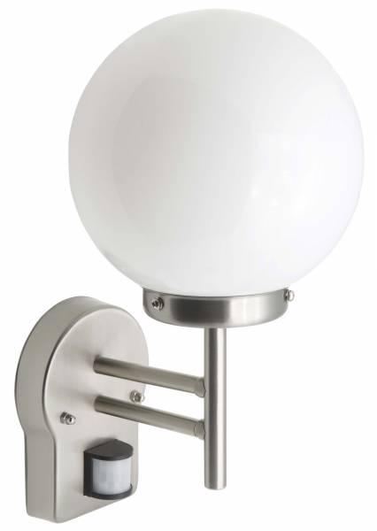 LED Außenwandstrahler mit Bewegungsmelder, 1x 5.8W LED E27 inkl., 1x 630 Lumen, 2700K warmweiß, Edelstahl / Glas, edelstahl