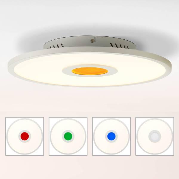 LED Panel Deckenleuchte, Ø35cm, 40 Watt, RGB Farbwechsel per Fernbedienung steuerbar, 20 Watt, 2700-6500 Kelvin; Metall/Kunststoff, Weiß