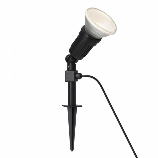 LED Außenstrahler mit Erdspieß inkl. 10W PAR38 E27 LED, IP44, 650 Lumen, 3000K warmweiß, Kunststoff, schwarz