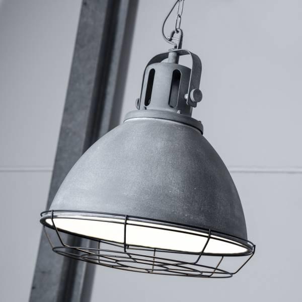 Vintage Pendelleuchte im Industry Beton Design mit Metallgitter, 1x E27 max. 60W, Metall, grau Beton