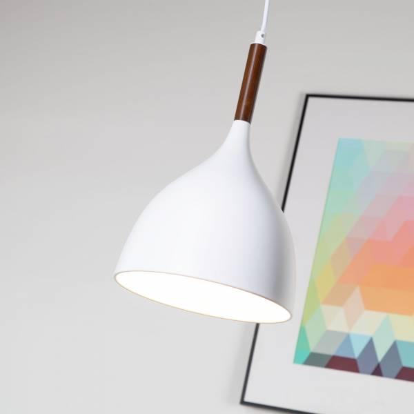 Schlichte Hängeleuchte mit Holz und weißem Schirm, Ø 22cm, E27 max. 60W, Metall / Holz, weiß