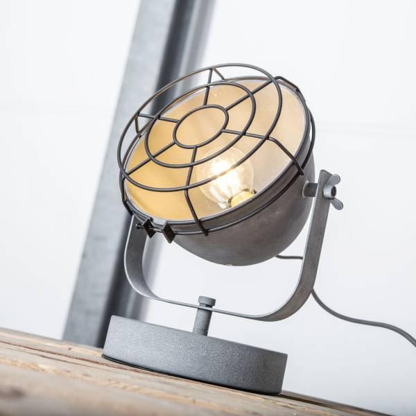 Vintage Tischleuchte im Industrial Used-Look, 1x E27 max. 40W, Metall, grau Beton