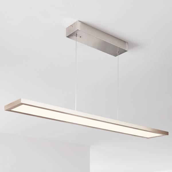 Smarte LED Pendelleuchte/lampe per App steuerbar, 90x15cm, 1x 30W LED integriert, 1x 2300 Lumen, 2700-6200K, Metall / Kunststoff, nickel eloxiert