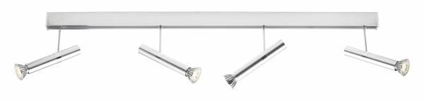 Moderner LED Deckenspot, 1x 6W LED GU10 Reflektor inkl., 4x 220 Lumen, 3000K warmweiß, Aluminium, alu / chrom