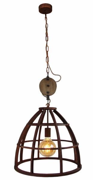 Pendelleuchte 47cm, 1x E27 max. 60W, , Metall / Holz, rostfarbend
