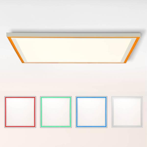 LED Panel Deckenleuchte, 60x60cm, 38 Watt, RGB Farbwechsel per Fernbedienung steuerbar, 2700-6500 Kelvin; Metall/Kunststoff, Weiß
