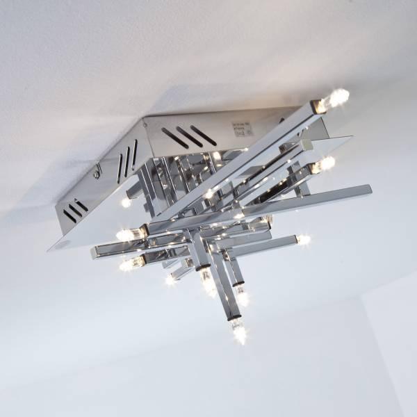 Dekorative Deckenleuchte im modernen Design, 11x G4 10W Halogen inkl., Metall, chrom