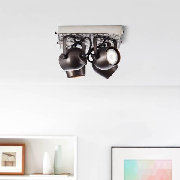 Lightbox Deckenstrahler, 4-flammig, 4x GU10 max. 35 Watt, Metall, schwarz stahl / weiß