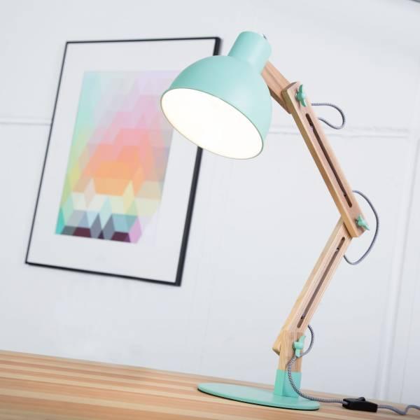 Moderne Tischleuchte im Nordic Design mit Textilkabel und Gestell aus Holz, 1x E14 max. 40W, Metall / Holz, holz hell / grün