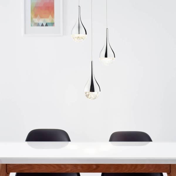 LED Pendelleuchte, 3-flammig, 3x 5W LED integriert, 3x 400 Lumen, 3000K, Metall / Glas, chrom