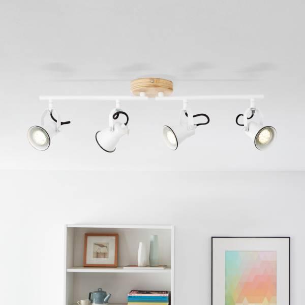 Landhaus Deckenleuchte in Emaille Optik, Köpfe drehbar, 4x GU10 max. 5 Watt aus Metall / Holz in weiß und hellem Holz