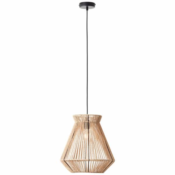 Lightbox Pendelleuchte im Nature Stil, für LED Leuchtmittel geeignet, 1xE27 max. 42W, Textil/Papier/Metall - Natur/Beige