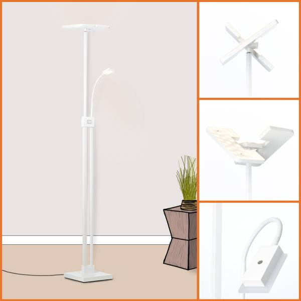 Lightbox Deckenfluter - Stehlampe LED dimmbar, mit Leselampe - 230cm - in der Höhe verstellbar -Warmweißes Licht - Metall/Kunststoff, weiß