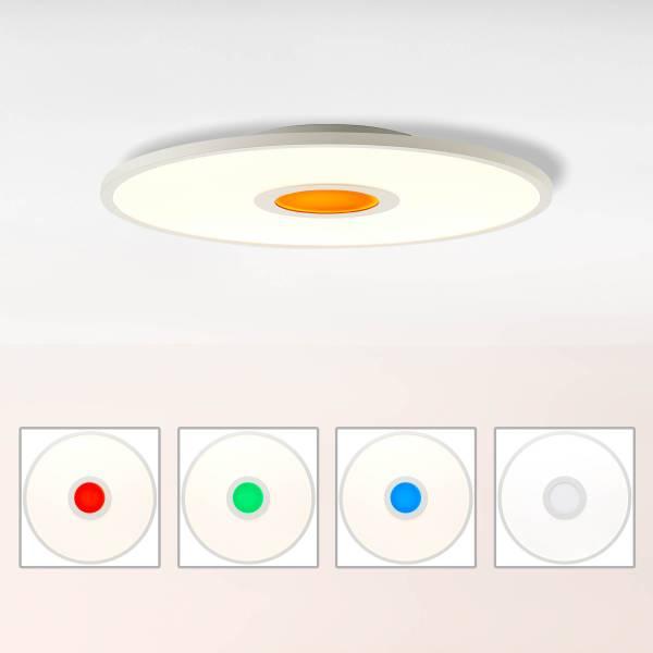 LED Deckenleuchte dimmbar, Ø45 cm, 24 Watt, mit RGB Akzentbeleuchtung per Fernbedienung steuerbar, 2700-6500 Kelvin; Metall/Kunststoff, Weiß