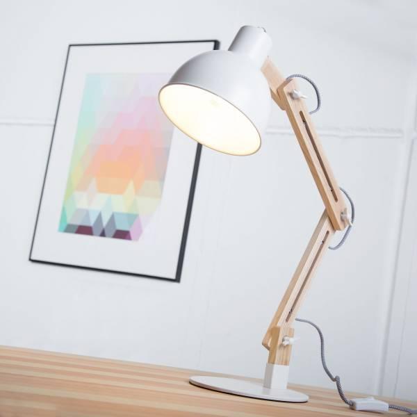 Moderne Tischleuchte im Nordic Design mit Textilkabel und Gestell aus Holz, 1x E14 max. 40W, Metall / Holz, holz hell / weiß