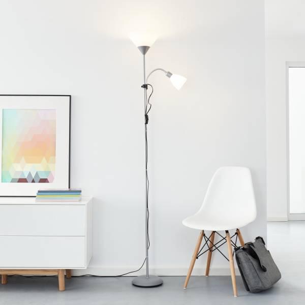 Lightbox Deckenfluter LED Stehleuchte einstellbarer Lesearm 1,8m Höhe Schalter warmweißes Licht 1x E27, 9,5W, 806lm + 1x E14, 4W, 450lm Metall/Kunstst