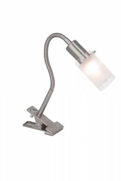 Flexible LED Klemmleuchte 47,5cm, Tischlampe 3W 260lm, 3000K warmweiß, Metall / Glas, eisen / chrom