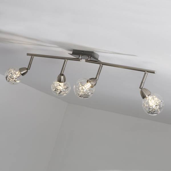 LED Spotrohr, 4-flammig, drehbar, 4x 3.5W LED integriert, 4x 320 Lumen, 3000K, Metall / Glas, alu / transparent